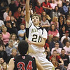 Henryville junior Tyler Collins scores in the second half against Borden Saturday night.  Staff photo by C.E. Branham