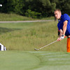 Silver creek No. 1 golfer Sam Garr chips onto his first hole of play in the Southern Indiana Open on Saturday morning at Hidden Creek Golf Club. Staff photo by C.E. Branham