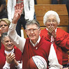 Longtime Jeffersonville High School basketball fan Tom Horn, who turned 100 on January, 22, was recognized Friday with a team ball and the crowd singing Happy Birthday.  Staff photo by C.E. Branham