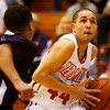 Jeffersonville guard Myles Harvey drives towards the basket during their game against Bloomington South in the 4A regional tournament at Shelbyville High School on Saturday afternoon. Bloomington South won the game 35-34. Staff photo by Christopher Fryer