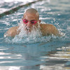 Jeffersonville swimmer Lucas Hennegan swims the breast stroke leg of the 200 yard medley relay Saturday at the IHSAA Boys Swimming and Diving Sectional.  Jeff won the event in 1.38.94.  Staff photo by C.E. Branham