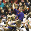 Silver Creek senior Grant Meyer scores on the break in a 52-50 3A sectional loss to Brownstown Central Wednesday night at Salem.  Staff photo by C.E. Branham