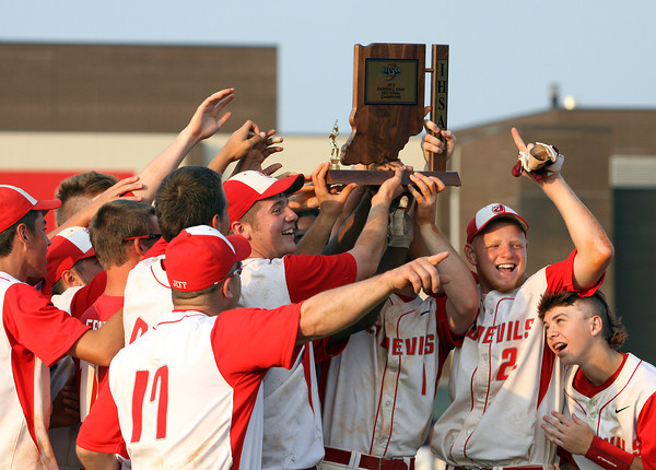 The 2012 IHSAA 4A Baseball Sectional 15 winning Jeffersonville High School Red Devils. Staff photo by C.E. Branham
