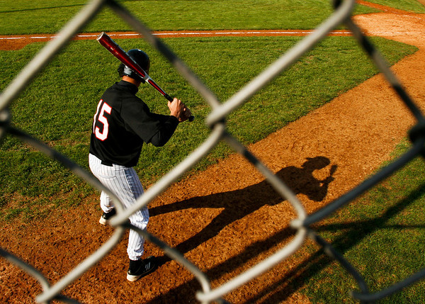 New Albany's Brandon Johnson warms up as he waits to bat during the fifth inning of their game against South Dearborn High School in New Albany on Saturday afternoon. The Bulldogs won the game 11-1. Staff photo by Christopher Fryer