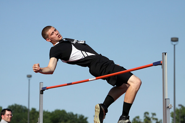 Henryville senior Bradley Everage competing in the high jump at the 2012 IHSAA track and field sectional at Jeffersonville. Staff photo by C.E. Branham