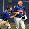 Silver Creek batter Jared Vest is congratulated by catcher Lucas McIntyre after Vest hit a three-run homer against Providence Tuesday. Staff photo by C.E. Branham