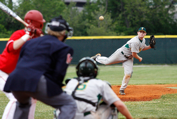 Floyd Central High School pitcher Derek Despain pitches during the third inning of their game against Jeffersonville High School at Jeffersonville on Wednesday night. Floyd Central won the game 8-5. Staff photo by Christopher Fryer