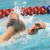 Jeffersonville swimmer Zach Blankenbeker swims to a second place finish in the 500 yard freestyle in the IHSAA Boys Swimming and Diving Championship Saturday at the IUPUI Natatorium.  Blakenbeker also finished fourth in the 200 yard freestyle.  Staff photo by C.E. Branham
