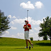 Jeffersonville High School junior Jordan Lacy  tees off on the the seventh hole during the Hoosier Hills Conference golf meet at Covered Bridge Golf Club on Saturday afternoon. Staff photo by Christopher Fryer