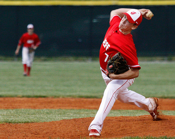 Jeffersonville High School pitcher Aaron Wenger pitches during the fourth inning of their home game against Floyd Central High School on Wednesday night. Floyd Central won the game 8-5. Staff photo by Christopher Fryer
