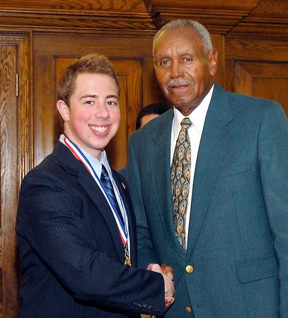 2012 Johhny Wilson Award nominee Zach Thornbro of Daleville  High School with Johnny Wilson.