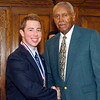 2012 Johhny Wilson Award nominee Zach Thornbro of Daleville  High School with Johnny Wilson.