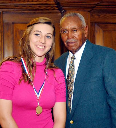 2012 Johhny Wilson Award nominee Morgan Tarlton of Lapel  High School with Johnny Wilson.