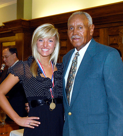 2012 Johhny Wilson Award nominee Michelle McFerran of Alexandria High School with Johnny Wilson.