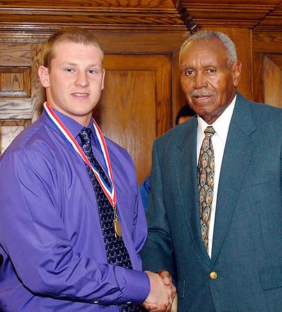 2012 Johhny Wilson Award nominee Lindsey Jake Stilwell of Pendleton Heights High School with Johnny Wilson.