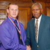 2012 Johhny Wilson Award nominee Lindsey Jake Stilwell of Pendleton Heights High School with Johnny Wilson.
