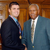 2012 Johhny Wilson Award nominee Brady Franklin of Madison-Grant  High School with Johnny Wilson.