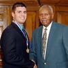 2012 Johhny Wilson Award nominee Brady Franklin of Madison-Grant  High School with Johnny Wilson.