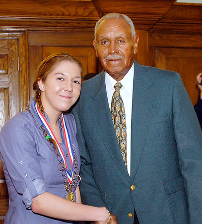 2012 Johhny Wilson Award nominee Chloe Miller of Anderson High School with Johnny Wilson.