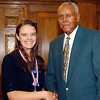 2012 Johhny Wilson Award nominee Lindsey Kardatzke of Liberty Christian  High School with Johnny Wilson.