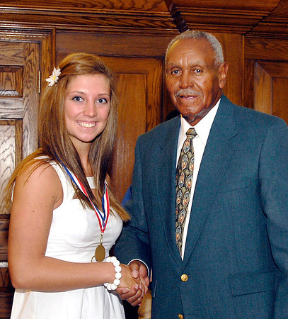 2012 Johhny Wilson Award nominee Lindsey Kelsey Hubble of Pendleton Heights High School with Johnny Wilson.