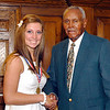 2012 Johhny Wilson Award nominee Lindsey Kelsey Hubble of Pendleton Heights High School with Johnny Wilson.