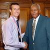 2012 Johhny Wilson Award nominee Austin Castor of Liberty Christian  High School with Johnny Wilson.