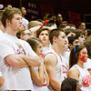 Jeffersonville fans look on during the final minutes of the Red Devils' 74-53 loss to Indianapolis Cathedral in the semi-state tournament at Seymour on Saturday. Staff photo by Christopher Fryer
