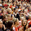 Borden fans cheer during a pep rally to support their boy's basketball team's upcoming state championship game on Saturday. Hundreds of students and community supporters showed up for the event. The Braves will take on Triton for the Class A state championship at Bankers Life Fieldhouse in Indianapolis on Saturday morning. Staff photo by Christopher Fryer