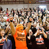 Fans cheer during a pep rally for Borden's boy's basketball team in their gym following their 55-50 victory over Triton in the Class A state championship at Bankers Life Fieldhouse in Indianapolis on Saturday. Staff photo by Christopher Fryer