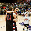 Borden's Billy Kirchgessner, left, and Jalen McCoy celebrate after their 47-44 victory over University in the semi-state tournament at Seymour on Saturday. The Braves will face Triton for the Class A state championship in Indianapolis on Saturday March 23. Staff photo by Christopher Fryer