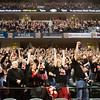Fans cheer as they watch the Borden's boy's basketball team accept their awards and honors following their 55-50 victory over Triton in the Class A state championship at Bankers Life Fieldhouse in Indianapolis on Saturday. Staff photo by Christopher Fryer