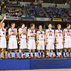 Borden stands at center court after accepting their medals following their 55-50 victory over Triton in the Class A state championship at Bankers Life Fieldhouse in Indianapolis on Saturday. Staff photo by Christopher Fryer