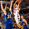 Borden guard Jalen McCoy goes up for a shot during their game against Triton for the Class A state championship at Bankers Life Fieldhouse in Indianapolis on Saturday. The Braves won the game, 55-50. Staff photo by Christopher Fryer