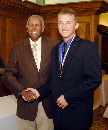 Johnny Wilson with 2013 Johnny Wilson Award nominee Austin Engle of Madison-Grant High School.