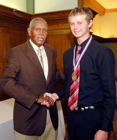 Johnny Wilson with 2013 Johnny Wilson Award nominee Mitchell Richardson of Lapel High School.