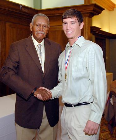 Johnny Wilson with 2013 Johnny Wilson Award nominee Collin Hoskins of Elwood High School.