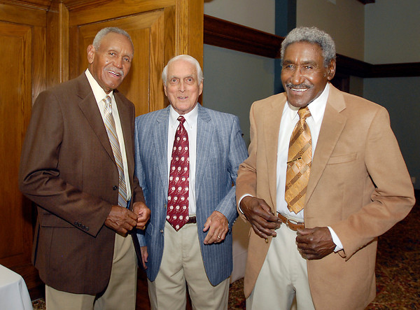 Johnny Wilson, Carl Erskine, and Gene Wilson have a laugh at the 2013 Johnny Wilson Awards.<br /> <br /> .