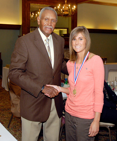 Johnny Wilson with 2013 Johnny Wilson Award nominee Hope Fred of Elwood High School.