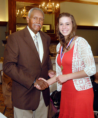 Johnny Wilson with 2013 Johnny Wilson Award nominee Stephanie Pritchett of Lapel High School.