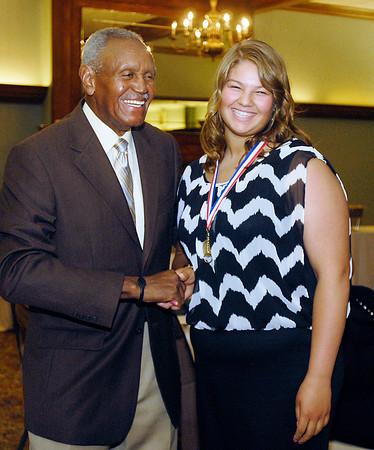 Johnny Wilson with 2013 Johnny Wilson Award nominee Bethani Herniak of Madison-Grant High School.