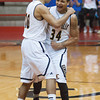 The Clarksville Generals' D.J. Coleman (left) and Andrew Jones celebrate after beating Linton-Stockton 42-36 in overtime to win Saturday's Class 2A Southridge Regional championship. Photo by Joe Ullrich