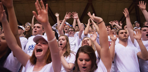 The Silver Creek Ozone cheers on its Dragons at Saturday's Class 3A Washington Regional semifinal game. The Dragons were defeated by Greensburg 70-60. Photo by Joe Ullrich
