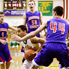 Floyd Central guard J.C. Kinnaird drives to the basket during the Highlanders' home game against Jennings County on Tuesday. Staff photo by Christopher Fryer