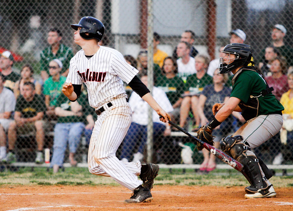 New Albany's Garrett Sherrell connects for a double, two-run RBI during their home game against Floyd Central on Wednesday. Staff photo by Christopher Fryer