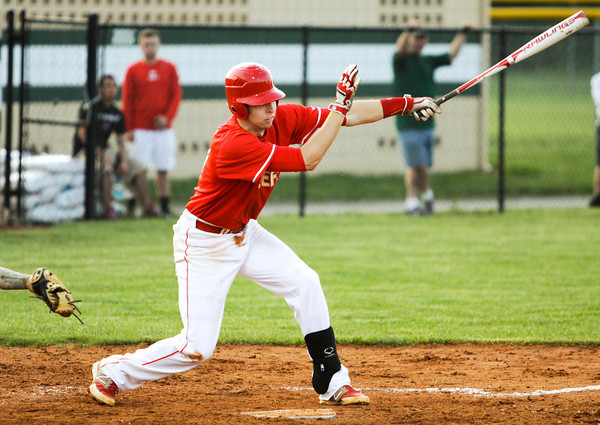 Jeffersonville's Drew Ellis connects for a single during the Red Devils' 7-6 victory at Floyd Central on Monday. Staff photo by Christopher Fryer