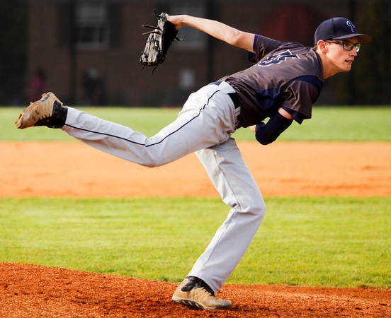 Providence's Cameron Harvey pitches during the Pioneers' 3-0 loss at New Albany on Thursday. Staff photo by Christopher Fryer