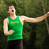 Floyd Central senior Codie Hamsley throws during the shot put competition at the Floyd Central sectional track meet on Thursday. Staff photo by Christopher Fryer