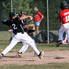 Jeff/GRC 9-10 All-Star batter Keiton Smith beats Clarksville 9-10 All-Star Shelton Dee (#2) to first base for a single Wednesday night in District V play. Staff photo by C.E. Branham