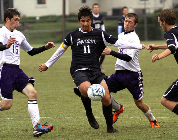 Providence senior Pierce Crawley (11) scored four goals in the first half as the Pioneers played Lanesville in the first game of the 1A Soccer Sectional Monday night. Staff photo by C.E. Branham